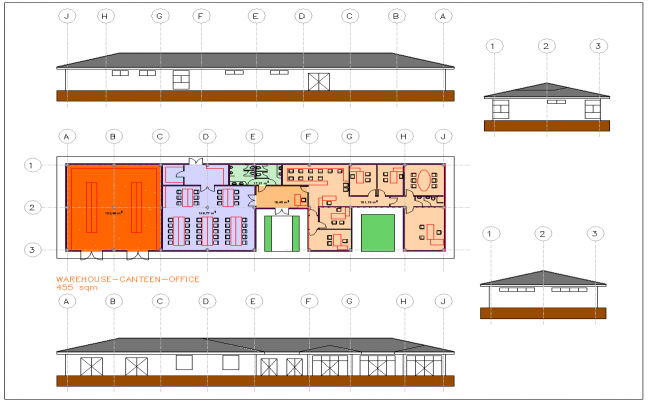 1 Level office Building plan drawing
