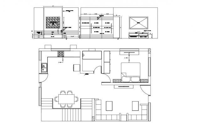 1 bhk House Plan Drawing