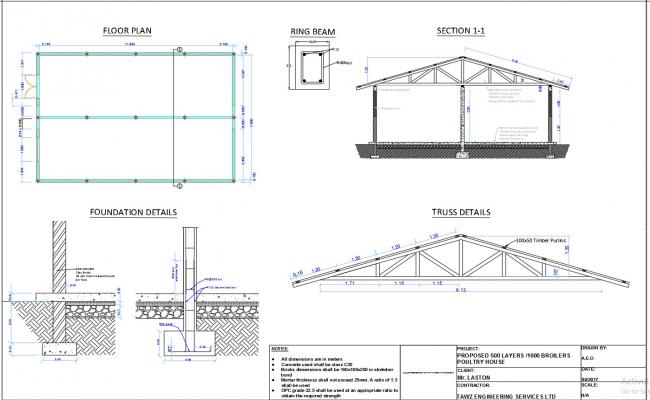 1000 Broilers Poultry House Design Drawing on Plan Section Elevation Drawings