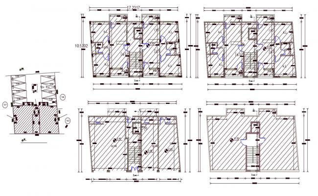 10mtr X 17mtr 2 BHK Apartment House Plan DWG File