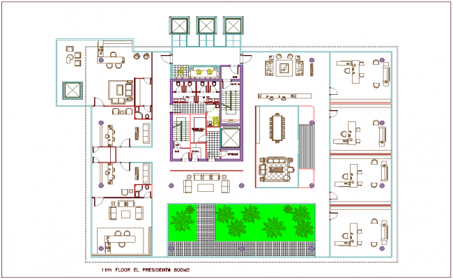11 floor plan of bank architectural view dwg file