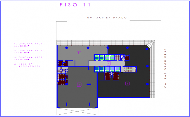 11 floor plan of office with architectural view dwg file
