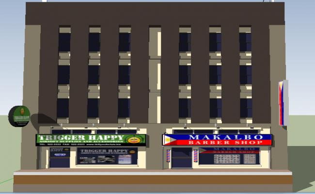 3D Commercial Building SKP File
