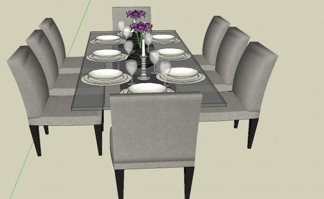 3d Dining table details