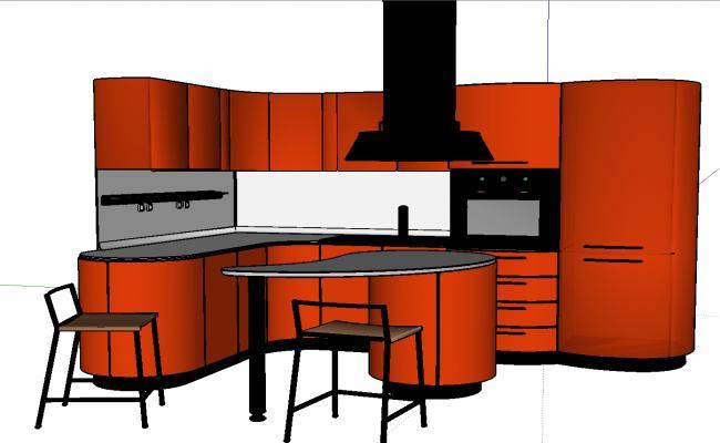 3d modern kitchen design
