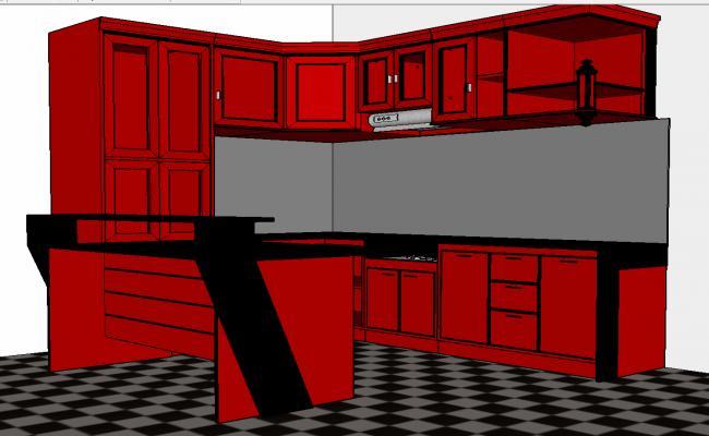 3d red kitchen furniture details