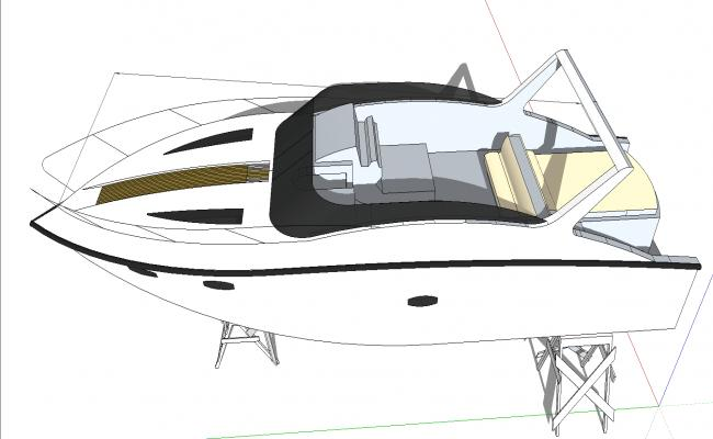 Motor boat design 3d