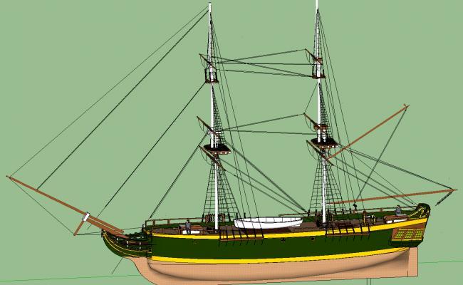 3d Modern ship details