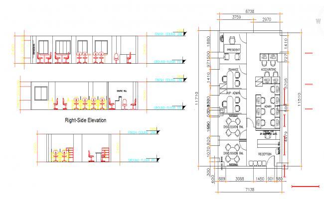 Office building interior details