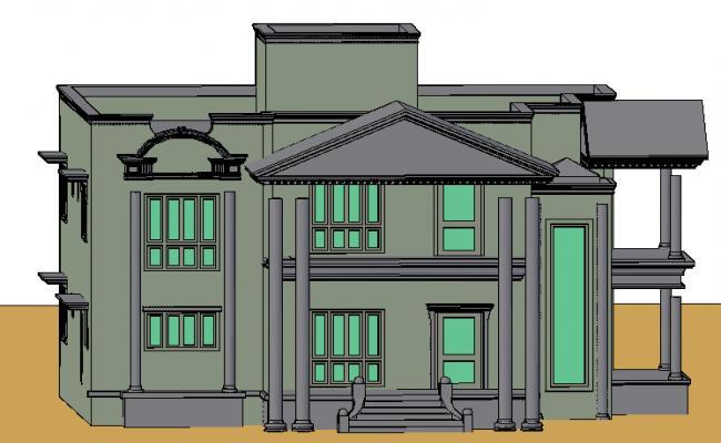 3D modern House details