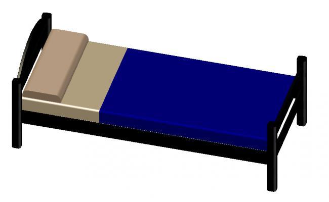 3D single bed details