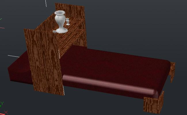 3d Wooden single bed details