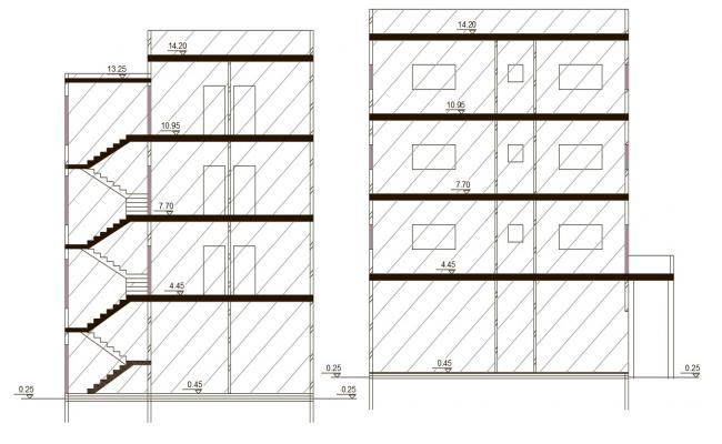 14 Meter Height Of Apartment Building Section Drawing