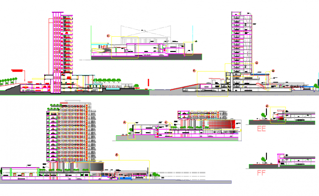 15 Story Corporate Office Building Drawing