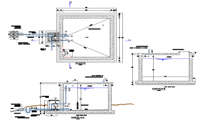 15 m3 reservoir plan and section autocad file
