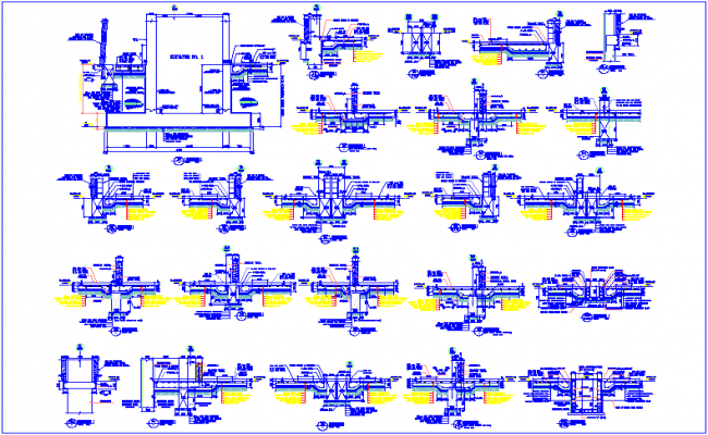 18 to 36  different section of stadium with  construction detail dwg file