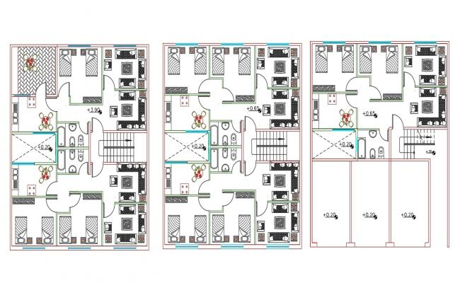 1 BHK And 2 BHK Apartment House Furniture Layout Plan DWG