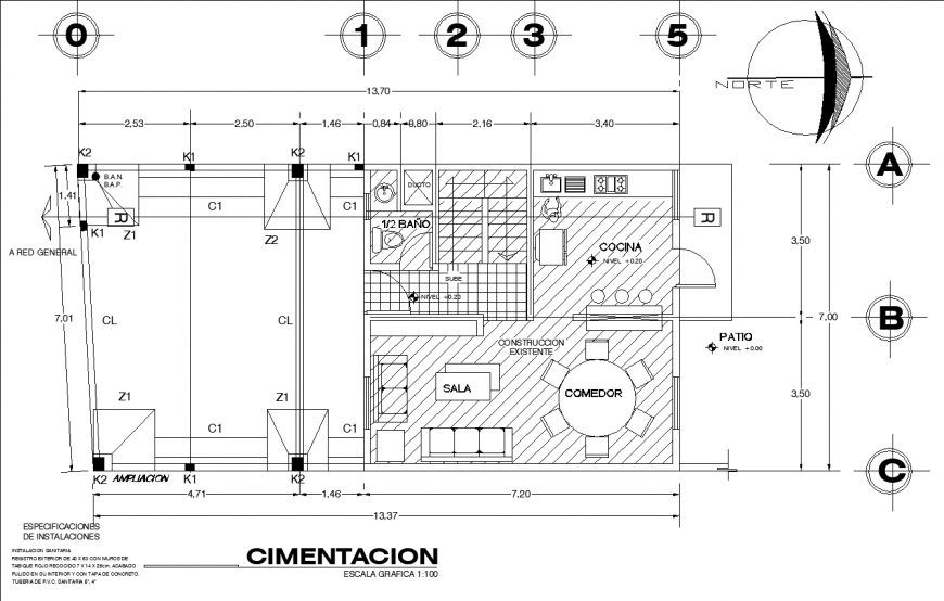 1bhk house layout plan in dwg AutoCAD file.