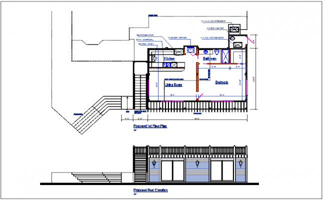 1st floor plan view and elevation view detail dwg file