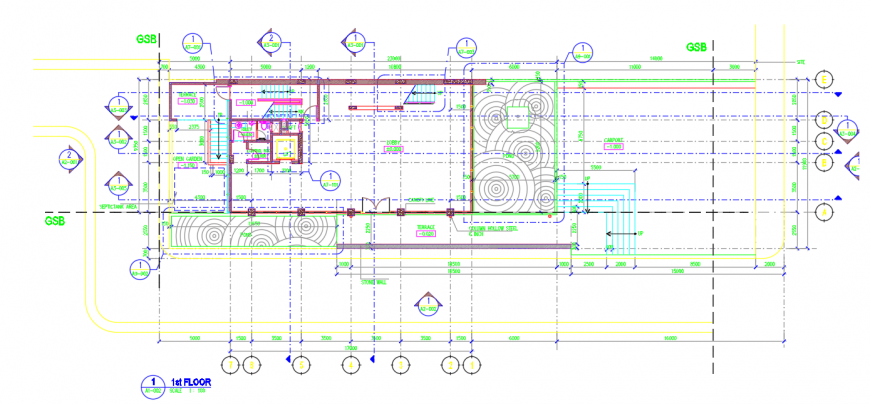 1st floor plan of the hotel layout plan in dwg AutoCAD file.