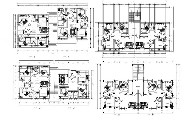 2 And 3 BHK Apartment Design Plans With Basic Working Drawing AutoCAD File Free