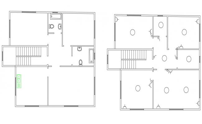 2 BHK AutoCAD House Plan Design CAD Drawing