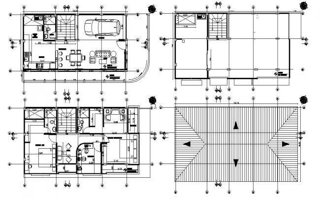 2 BHK Furnished Bungalow Layout CAD Plan