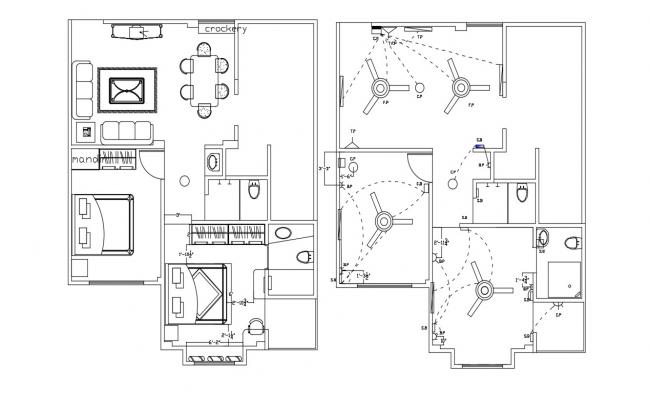 2 BHK House Design Furniture layout Plan AutoCAD drawing