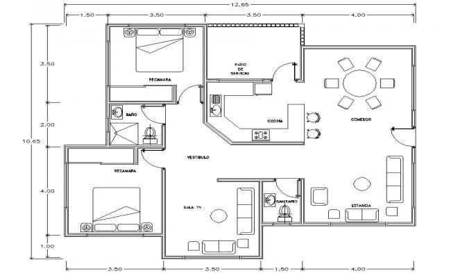 2 BHK House Plan DWG