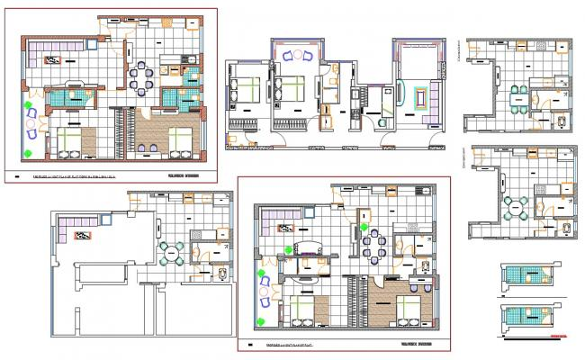 2 BHK Residential House Furniture Layout Plan CAD File