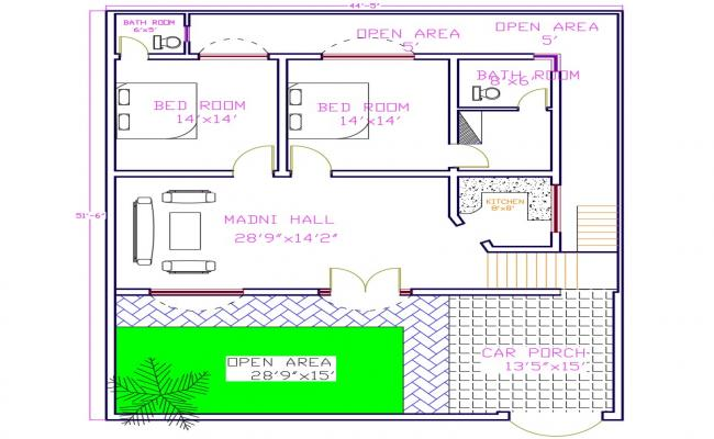2 Bedroom House Cad Plan
