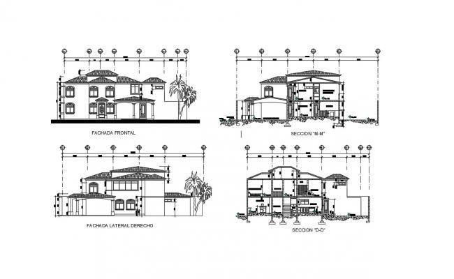 2 Floor House Design  In DWG File