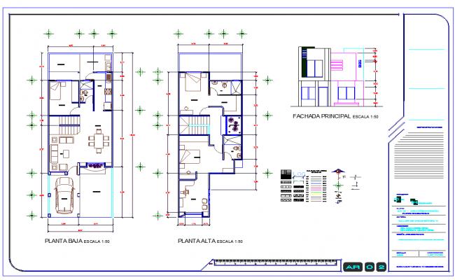 2 Level House plan dwg file