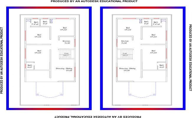 2 Plans Of 3BHK Residential House Plan View Design In AutoCAD But Is Is Now In Jpg on Autocad 2d Floor Plan