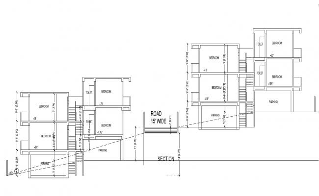2 Storey Apartment Section CAD Drawing