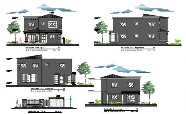 2 Storey House Building Elevation Design AutoCAD File