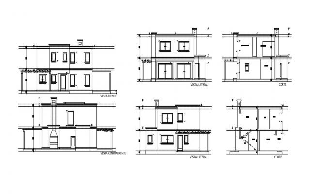 2 Storey House Elevation In DWG File