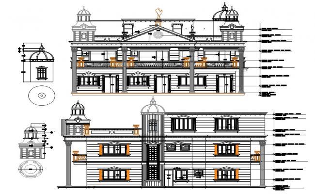 2 Storey Tradition House Elevation Design AutoCAD File