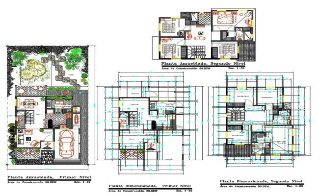 2 Stories Family House Furniture Layout Plan AutoCAD File