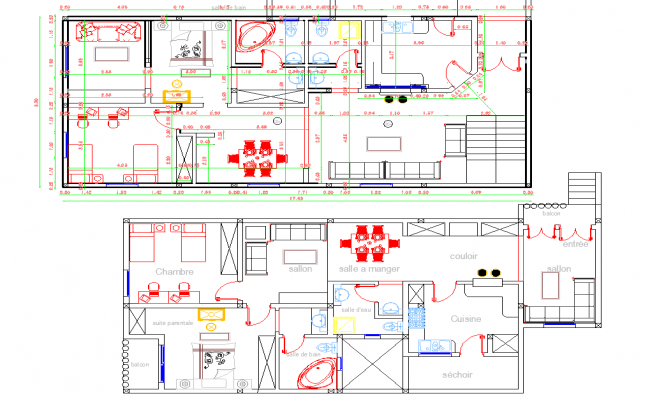 2 Story House Layout plan autocad file