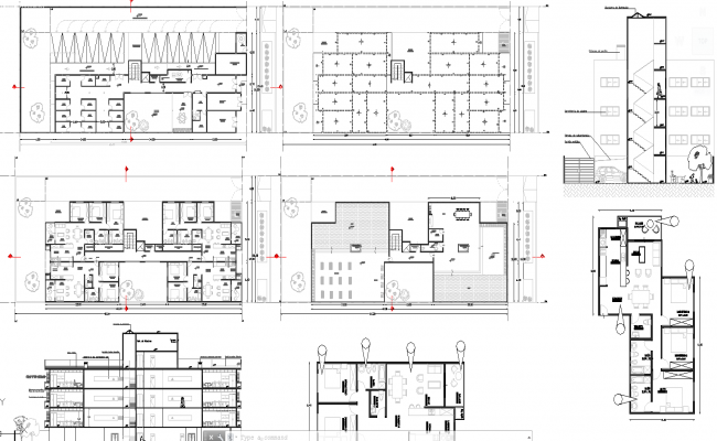2 and 3 bhk apartment architecture design in autocad dwg files for Apartment plans dwg format