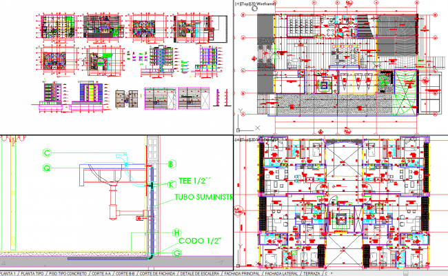 Bhk Plan Elevation Section : Bhk apartment architecture drawing and detail in autocad