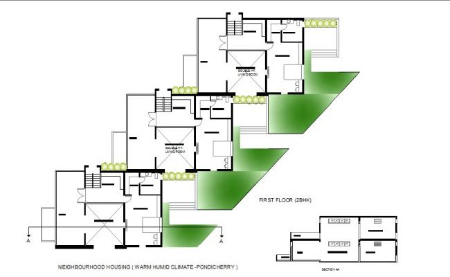2 bhk house first floor plan and sectional details dwg file