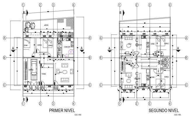 2-floor house plan in autocad