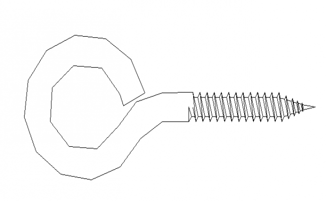 2 mm width small screw pin cad design dwg file