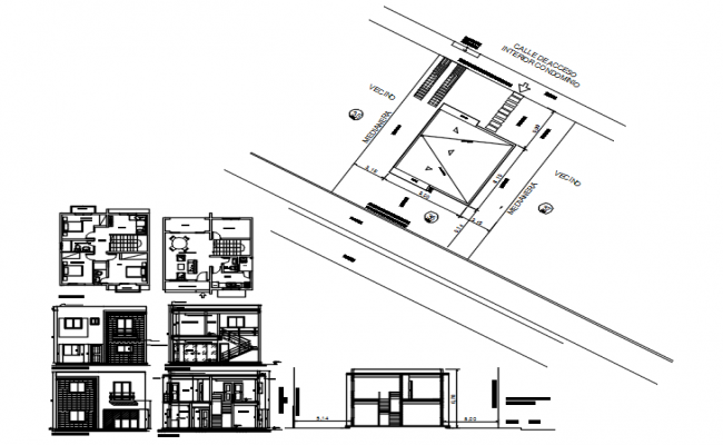 2 storey House with section and elevation in AutoCAD