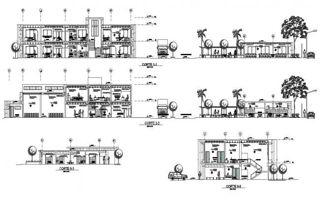2 storey building section AutoCAD File
