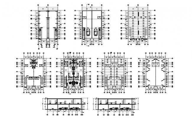 2 storey bungalow 9.75mtr x 17.55mtr with section details in dwg file