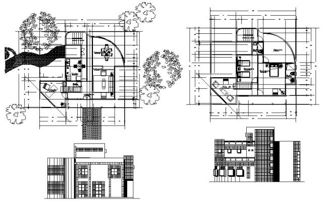 Download Free Modern Two Storey House Design In DWG File