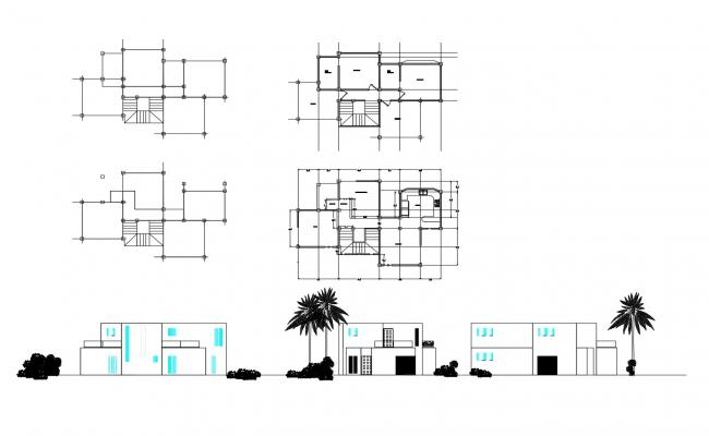 2 storey bungalow with section and elevation in dwg file